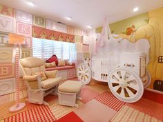 With a crib modeled after a carriage, this storybook nursery is perfect for a princess-in-training. The room includes other charming touches like wallpaper with a toy block motif, quilted carpeting and an adorable woodland mural. Image courtesy of PoshTots