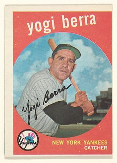 "Issued by Topps Chewing Gum Company (American). Yogi Berra, Catcher, New York Yankees, from the ""1959 Topps Regular Issue"" series (R414-14), issued by Topps Chewing Gum Company, 1959. The Metropolitan Museum of Art, New York. The Jefferson R. Burdick Collection, Gift of Jefferson R. Burdick (Burdick 329, R414-14.16) #newyork #nyc"