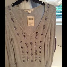 Brand new Boston Proper sweater Nwt gray sweater with rhinestones silver and navy blue. Gorgeous look Boston Proper Sweaters Crew & Scoop Necks