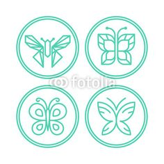 Vector: Vector set of line butterfly logos and icons