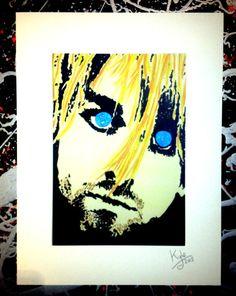 Kurt Cobain - Nirvava, signed pop art canvas print by Headon Art. #kurtcobain #nirvana #popart #headonart