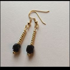 Black & Gold Earrings - NEW LISTING So Simple, yet so Flirty!! Gold Seed Beads and a Faceted black Glass bead, set off with small spacers. ‼️‼️ Can be made in Silver as well ‼️‼️ Jewelry Earrings