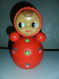 Vintage Soviet USSR Russian Celluloid Musical Doll Roly Poly Toy Nevalyashka