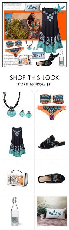 """Strapless Argyle Print Push Up Bandeau Bikini Set"" by carola-corana ❤ liked on Polyvore featuring Garden Trading"