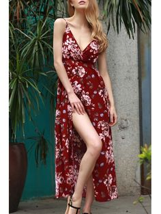 SHARE & Get it FREE | Floral Spaghetti Straps Slit Maxi DressFor Fashion Lovers only:80,000+ Items • New Arrivals Daily Join Zaful: Get YOUR $50 NOW!