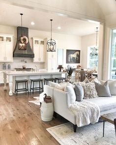 Kitchen Living Room 29 The Bizarre Secret Of Dream House Ideas Kitchens Open Concept Living Rooms 4 - Related Living Room Kitchen, Home Living Room, New Kitchen, Kitchen Ideas, Rustic Kitchen, Living Spaces, Living Room And Kitchen Together, Kitchen Layout, Kitchen Cupboard