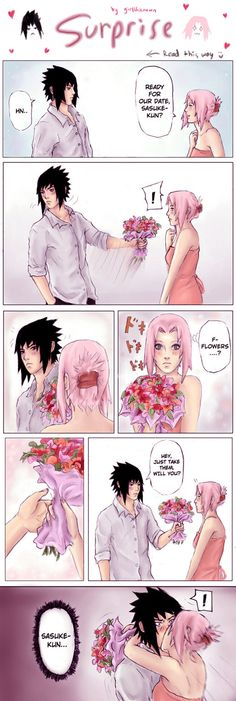 This is so accurate for how their relationship would actually be, SasuSaku #naruto