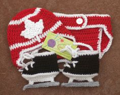 Red and White Maple Leaf Baby Crocheted by Grandmabilt, $66.00