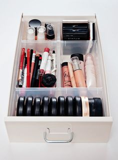 This is my new solution to storing my makeup. Ikea Helmer and Antonius drawer organizers.