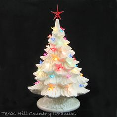 Ceramic Christmas Tree in White with Colorful Dove Bird Lights 18 Inch Tall with Star Electric Light - Texas Hill Country Ceramics