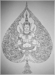 ดอกพุดตาน ลายไทย - Google Search Thai Pattern, Pattern Art, Love Tattoos, Body Art Tattoos, Japanese Tiger Tattoo, Indian Tattoo Design, Thailand Art, Thangka Painting, Buddha Tattoos