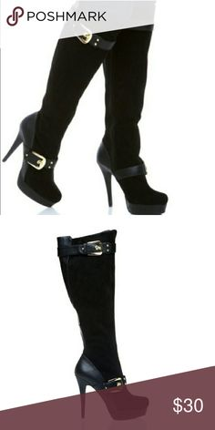 """💋 Like New Sexy Black Lourdes Boots SOLD OUT! Grab them while you can! Make a statement with these sexy knee-high boots. Features gold buckles & suede/leather like material. 5"""" heel and 1""""platform. Like new! Only worn once.  OFFERS ARE WELCOME! ❤  ❣ These are stock images. Photos of actual boots will be uploaded shortly ❣ Shoe Dazzle Shoes Heeled Boots"""