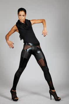 Lena Quist spandex leggings in glossy and matte textures with sheer mesh inserts