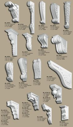 Polyurethane Corbels, pg 2 - Read more about Polyurethane. or order a small Sample Corbels may be hollowed out on top or back. House Front Wall Design, House Window Design, House Outside Design, House Ceiling Design, Bungalow House Design, Door Design, Neoclassical Architecture, Baroque Architecture, Facade Architecture