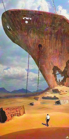 Golden Ocean by Dave Foret on ArtStation. Apocalypse World, Apocalypse Art, Apocalypse Landscape, Abandoned Ships, Abandoned Places, Sci Fi Fantasy, Fantasy World, Post Apocalyptic Art, Science Fiction Art