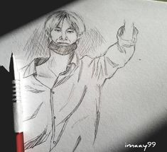 "166 Suka, 4 Komentar - Fanartist (@imaay99) di Instagram: ""#quickscetch #taehyung . . . I don't know it will be turn out like this. And it's so fun playing…"""