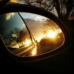 sunset in mirror