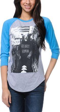 "G L M R K L L S brand baseball tee shirt ""Bearly human"""