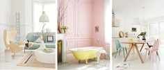 All I really want to show is that pretty yellow tub. Don't think I could live day to day with a bathroom that pink though!