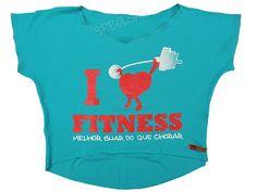 Blusas Femininas   Blusa Cropped Costas Rasgadas I Love Fitness Melhor Suar Do Que Chorar Verde Claro  Acesse: http://www.spbolsas.com.br/atacado/ #Regatas #Femininas #Atacado