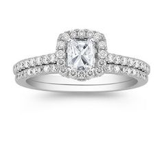 Halo Diamond Wedding Set with Pave Setting with Radiant Diamond