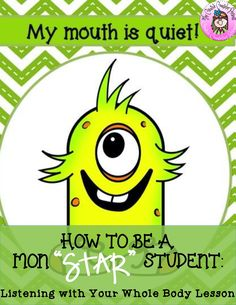 """Teach students how to use their whole body to listen with this cute Mon """"star"""" student using all his body parts to listen. Students interactively participate while learning what whole body listening means. Reading Task Cards, Guided Reading, Close Reading, Elementary School Counselor, Elementary Schools, Cooperative Learning, Student Learning, Eyfs Classroom, Classroom Decor"""
