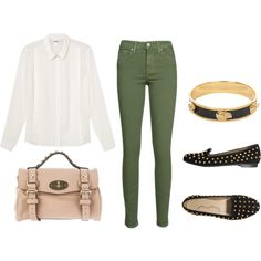 Green Skinnies. White Shirt. Gold and Black Accessories.