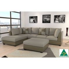 3pc Stella Sofa w Left Chaise & Ottoman Baked Earth | Buy Fabric Sofas