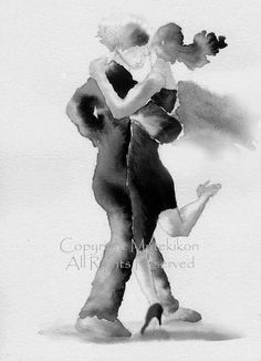 Argentine Tango Ink Painting.