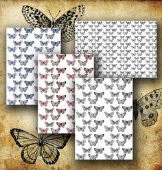 Printable digital papers vintage butterflies by MemoriesPictures, $2.00