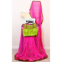 Hot Pink Chiffon Saree With Parrot Green Blouse (6 265 UAH) ❤ liked on Polyvore