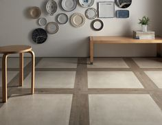 """""""Blend"""" by Fioranese, mixing and matching concrete and wood, even cardboard-inspired materials. Premiered at #Cersaie 2012. #porcelain #tile #design #mix"""