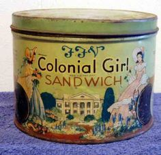 """VINTAGE """"COLONIAL GIRL SANDWICH"""" COOKIE TIN - SOUTHERN BISCUIT CO. RICHMOND, VA"""