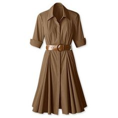Coldwater-Creek-Khaki-Shirt-Dress-Size-14P-Stretch-Cotton-Fit-and-Flare-NWT