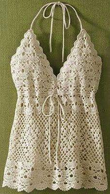 Crochet a bustier for the summer – La Grenouille Tricote - Kinderzimmer Débardeurs Au Crochet, Poncho Crochet, Pull Crochet, Mode Crochet, Crochet Shirt, Crochet Woman, Irish Crochet, Crochet Crafts, Crochet Diagram