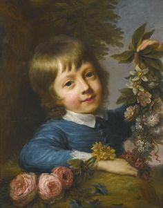 Boy With Flowers - Nathaniel Hone, R.A. - (Irish, 1718 - 1784).