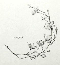 Tiny Flower Tattoos, Mini Tattoos, Leaf Tattoos, Small Tattoos, Mini Drawings, Blossom Tattoo, Floral Drawing, Henna Art, Tattoo Flash