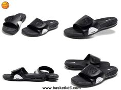 2014 Nike Air Lebron Slide Sandals black white For Sale