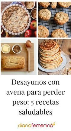 Desayunos con avena para perder peso: 5 recetas saludables 5 very healthy recipes with oatmeal for b Tortas Light, Gourmet Recipes, Snack Recipes, Diet Recipes, Healthy Recipes, Comida Diy, Healthy Sweet Snacks, Delicious Snacks, Healthy Food
