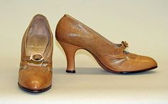 Shoes (Pumps)  Date: 1928 Culture: American Medium: leather Dimensions: Height (of heel): 3 in. (7.6 cm)