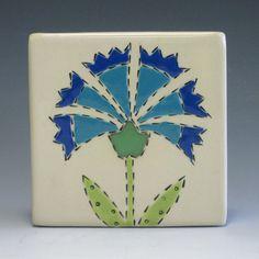 Blue Banner Flower - Folk Art Flower - Handmade Ceramic Tile - 4 inch - SALE. $18.00, via Etsy.