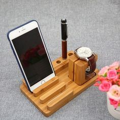 wood  smartphone stand pen stand  pen holder phone stand