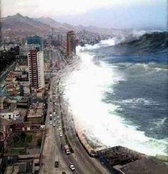 Tsunami.  Look at the size of the wave in upper right corner!!   G