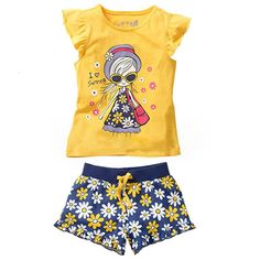 24023c5690b1 Girls Summer Casual Clothes Set Children Short Sleeve Cartoon T shirt +  Short Pants Sport Suits