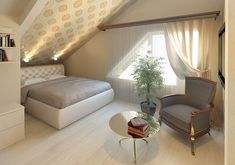 Yellow Baby Room: Awesome Models and Tips! - Home Fashion Trend Attic Bedroom Designs, Attic Bedrooms, Upstairs Bedroom, Small Attic Room, Rustic Loft, Single Bedroom, Loft Room, Trendy Bedroom, Interior Design Living Room