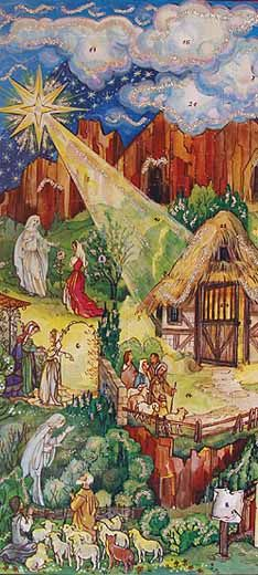 Mary's Story -  Vintage Advent Calendar (Made in Germany) contains the Annunciation, Visitation to Elizabeth, Nativity, Visitation to the Shephards