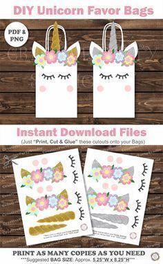 DIY Unicorn Party  Printable Unicorn Party decorations  DIY Unicorn Party  Favor Bags  Favor 84739f4264e41