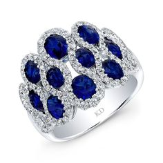 HIGH QUALITY NATURAL COLOR 18K WHITE GOLD INSPIRED STYLISH OVAL SAPPHIRE DIAMOND BAND EMBEDDED WITH ROUND WHITE DIAMONDS, FEATURES 3.76 CARAT TOTAL WEIGHT
