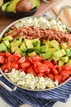 Crispy pancetta, avocado, tomatoes, blue cheese (or gorgonzola) and a delicious homemade dressing! Just swap out the sugar to make this low carb. Chopped Cobb Salad, Mexican Chopped Salad, Italian Chopped Salad, Chopped Salad Recipes, Healthy Salad Recipes, Yummy Recipes, Chicken Salad With Apples, Chicken Salad Recipes, Recipes