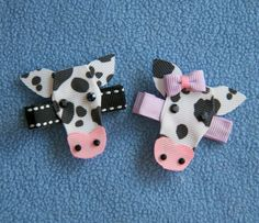 Cow Ribbon Sculpture Hair Clip. $4.75, via Etsy.